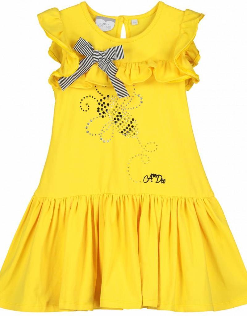A'Dee ADee Jurk geel met roezels en strik
