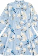 A'Dee A Dee Jurk licht blauw met vogels en bloemen zacht velours