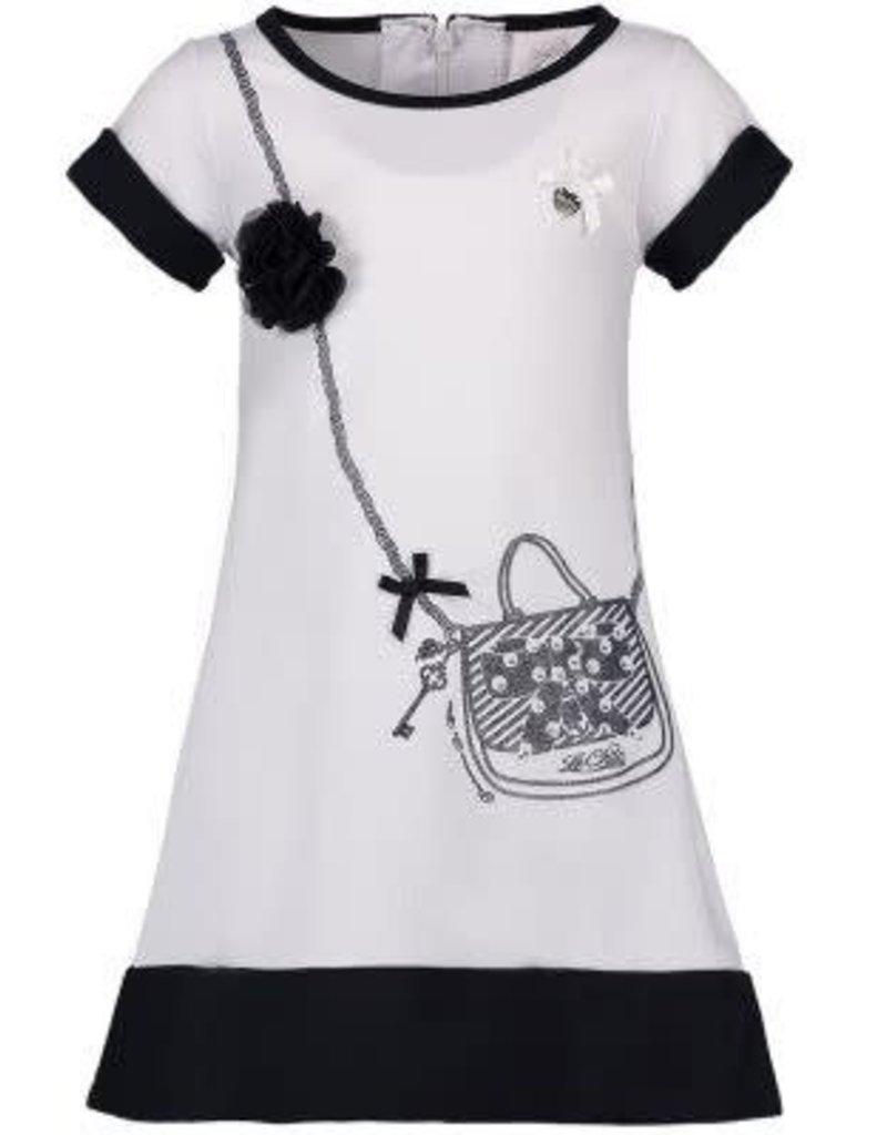 Le Chic Le Chic jurk wit van tricot met donkerblauwe band en tasje