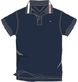 Tommy Hilfiger Tommy Hilfiger Polo donkerblauw met rode letters op kraag
