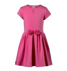 Jottum Jottum  Jurk hard roze met bloem van tricot