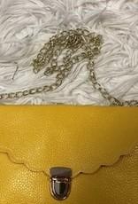 Tasje enveloppe geel met goud  hengsel