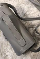 Tasje grijs met extra vakje met printen met lang  en kort hengsel
