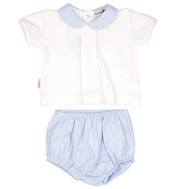Babidu Babidu PLAIN CHAMBRAY SET W/BABY COLLAR SKY BLUE