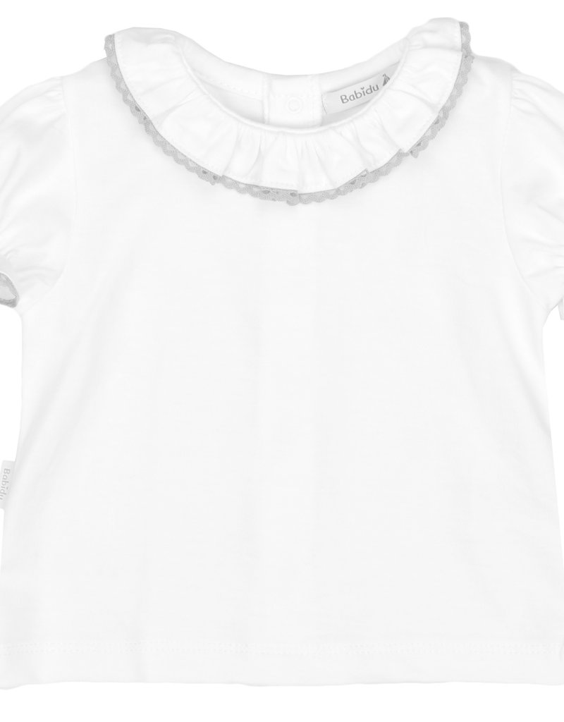 Babidu Babidu PLAIN STITCH S/S SHIRT W/RUFFLE COLLAR WHITE