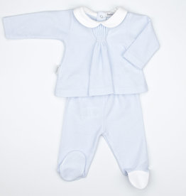 Babidu Babidu PATUCO PUCKERED COLLAR W/FOOTED PULL ON PANT SKY BLUE
