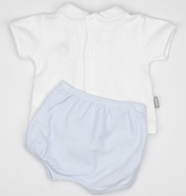 Babidu Babidu PATUCO S/S SET W/PUCKERED COLLAR SKY BLUE