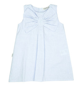 Babidu Babidu PLAIN CHAMBRAY DRESS W/BOW SKY BLUE