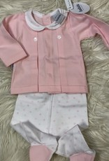 Babidu Babidu STAR BOX PLEAT BABY COLLAR W/FOOTED PULL ON PANT PINK