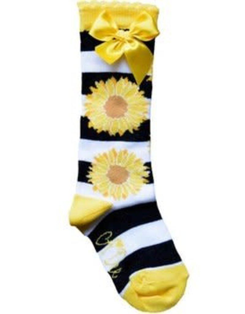A Dee Kniekous geel met zwarte strepen