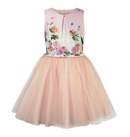 Jottum Jottum Beautiful gown in crepe pink with a floral print upper part and voluminous tulle skir