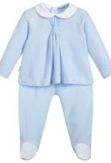 Babidu Babidu STAR BOX PLEAT BABY COLLAR W/FOOTED PULL ON PANT SKY BLUE
