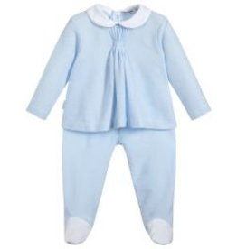 Babidu Babidu STAR BOX PLEAT BABY COLLAR W/FOOTED PULL ON PANT SKY BLUE