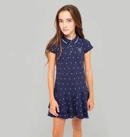 Conguitos Conguitos polo jurk donkerblauw met ankers en witte hartjes