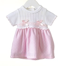 Blues baby Blues Baby Jurkje wit gebreid met roze katoenen rokje