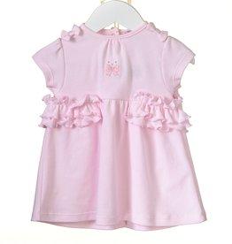 Blues baby Blues Baby Jurkje Roze tricot strik met roesel broekje
