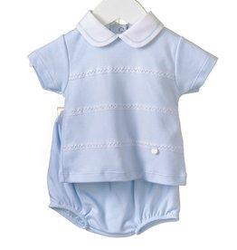 Blues baby Blues Baby broekje lichtblauw tricot met wit kraagje  twee deliig