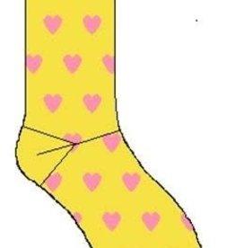 Bonnie Doon Bonnie Doon Sok geel met roze hartjes