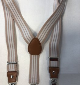 Bretels met leer wit roze/beige streep