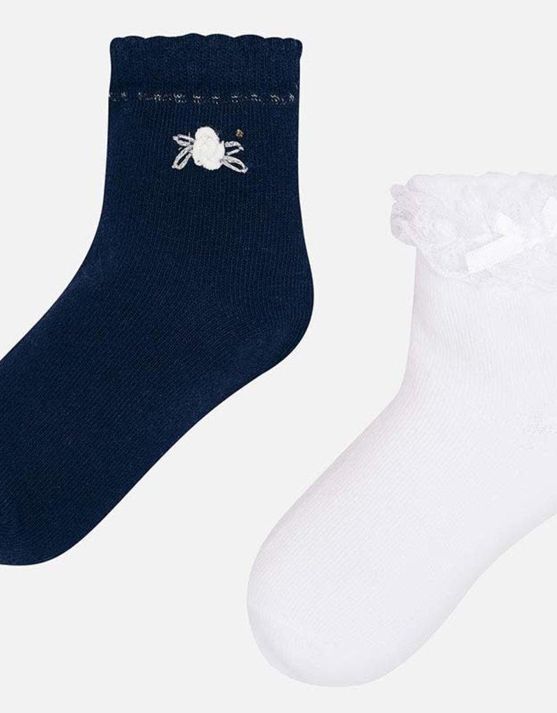 Mayoral Mayoral 2 paar sokjes donkerblauw en wit