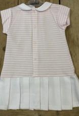 Babidu Babidu Jurkje roze wit gestreept met wit plooirokje