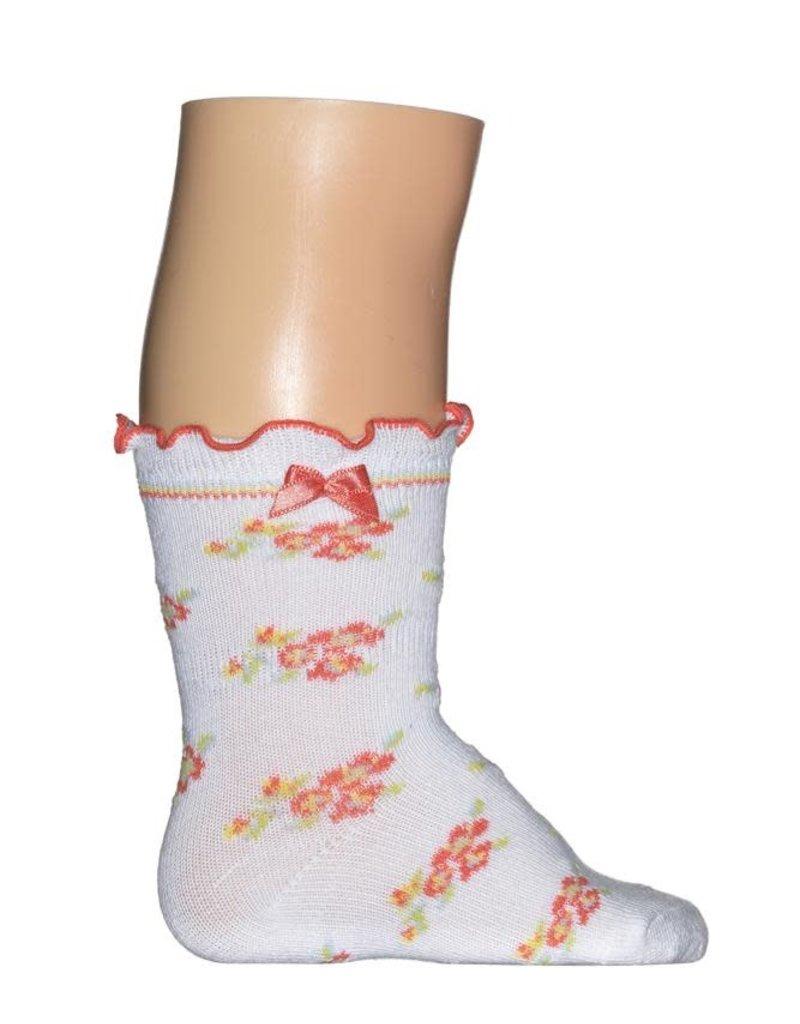 Bonnie Doon Bonnie Doon Sokje wit met vrolijke bloempjes