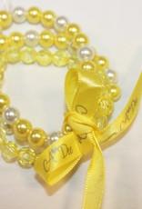 A'Dee A dee armband parel geel 3 stuks met lint