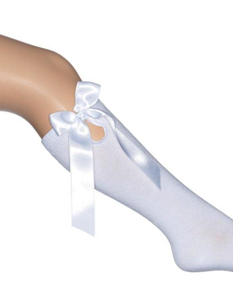 Bonnie Doon Bonnie Doon kniekousen wit met satijnen strik