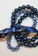 A'Dee A dee armband parel donkerblauw 3 stuks met lint