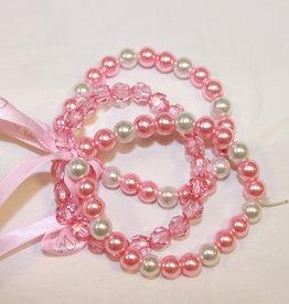 A'Dee A dee armband parel roze 3 stuks met lint