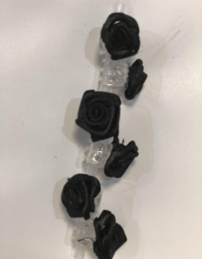 6 roosjes zwart op rietje