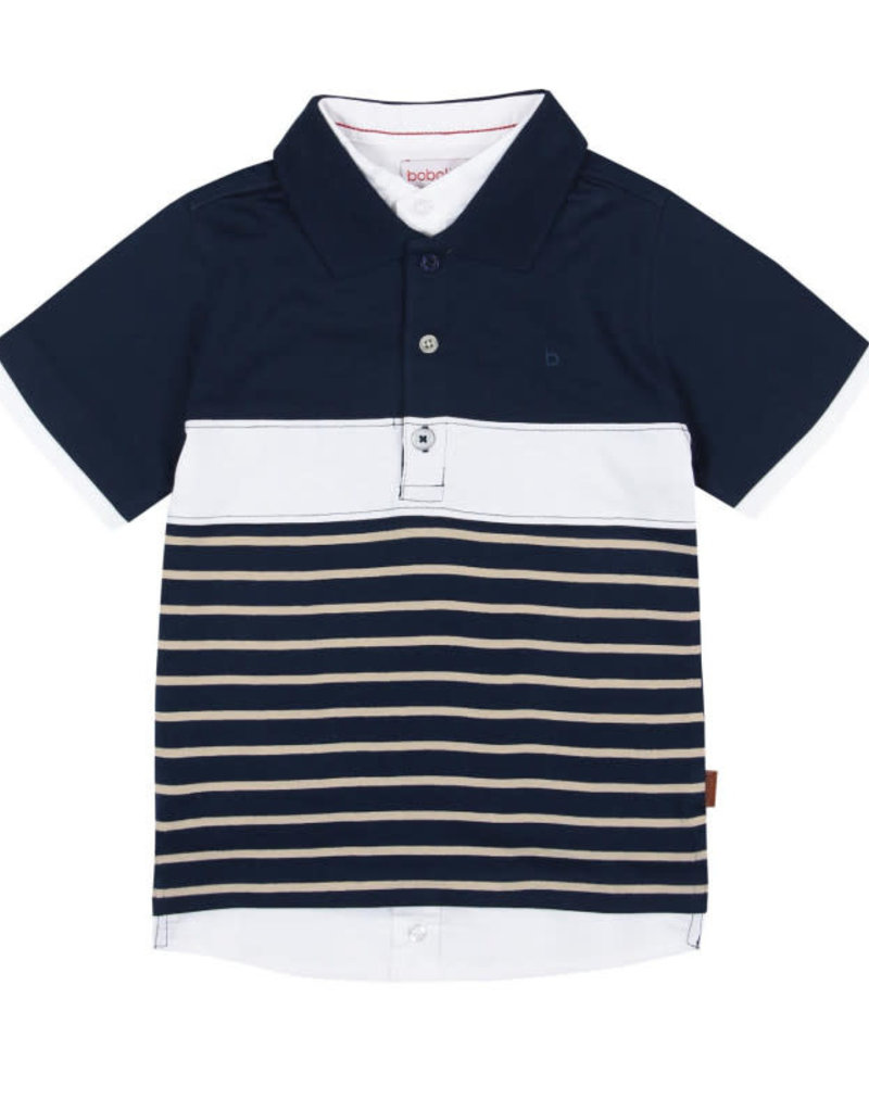 Boboli Boboli Polo donkerblauw met wit blouse kraagje