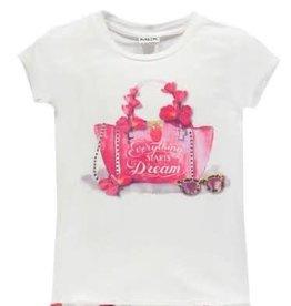 Mek Mek Shirt met glitter tas hard roze