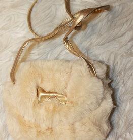 Bont tasje off white met gouden strikje
