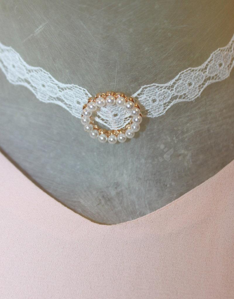 Kanten hals ketting parels met goud kleurige sluiting