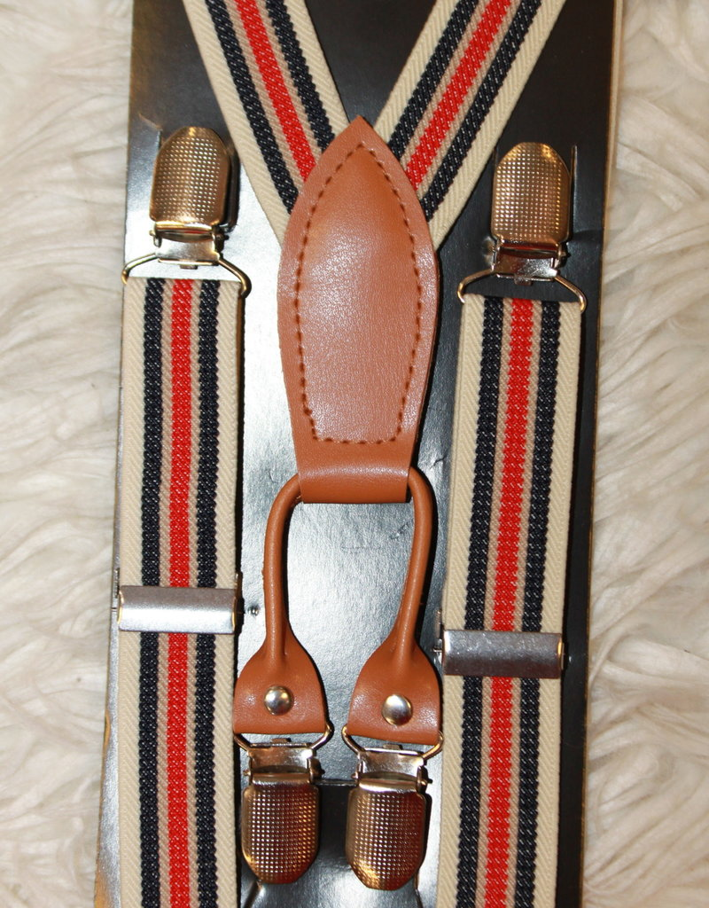 Bretels beige met rode en blauwe strepen breed