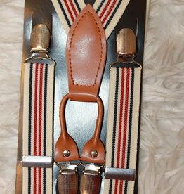 Bretels beige met rode en blauwe strepen smal