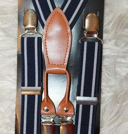 Bretels met leer donkerblauw met witte streep