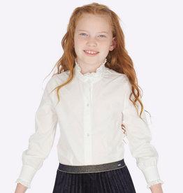 Mayoral Mayoral Poplin ruffled blouse Natural - 07103