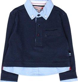 Boboli Boboli Knit combined polo for baby boy NAVY 718264