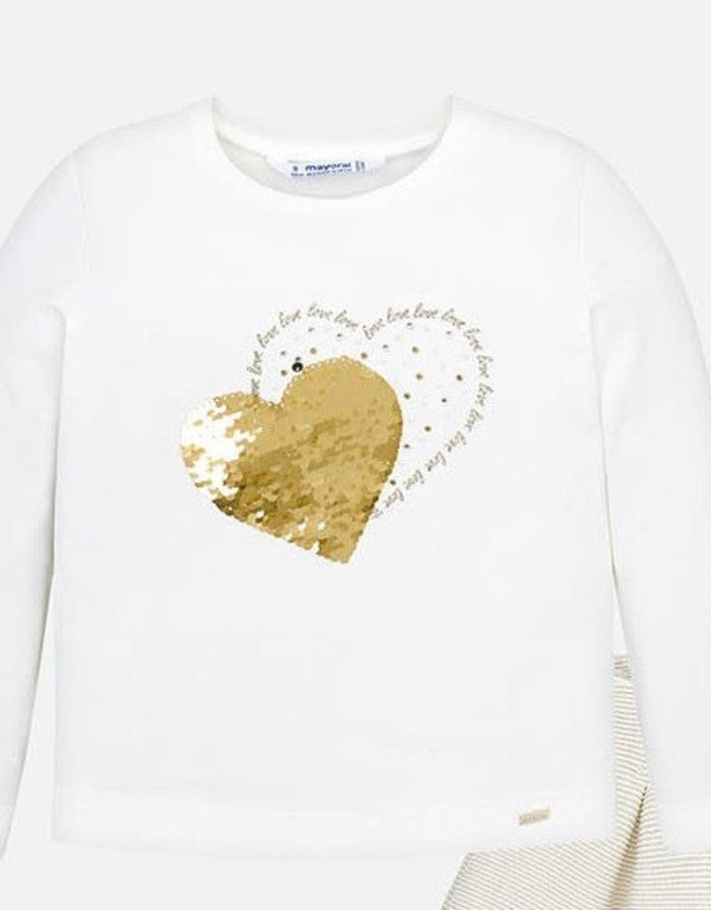 Mayoral Mayoral Shirt off white met goud wrijf hart