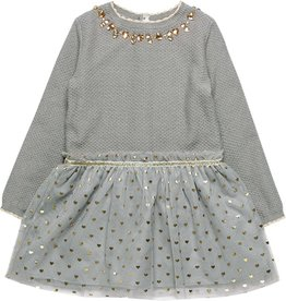 Boboli Boboli Knitwear combined dress for girl fog 728568