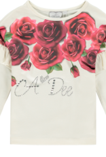 A'Dee ADee Shirt wit met ROZEN  en glitters