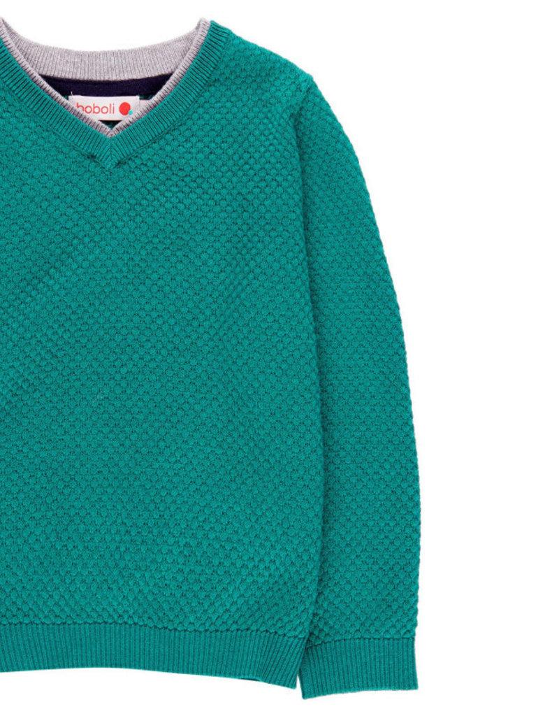 Boboli Boboli Knitwear pullover with elbow patches for boy chlorophyll 738255