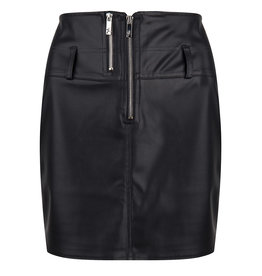 Jacky Jacky rok zwart leer look met zilveren rits