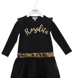 Rosalita Rosalita Jurk zwart met gouden opdruk