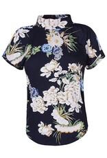 D -Xel Shirt donkerblauw met roze bloemen