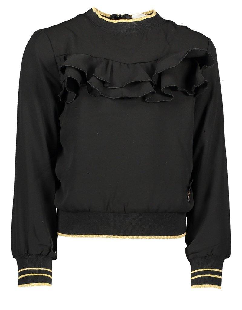 Le Chic Le Chic blouse fancy voile golden rib C909-5111 Black