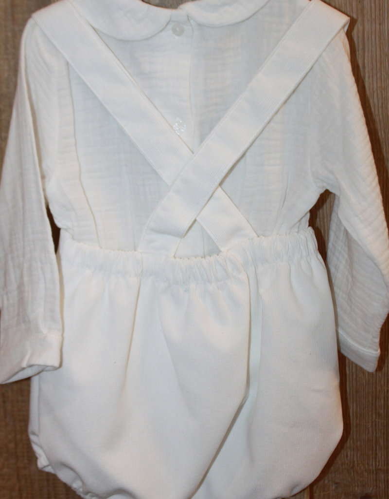 Babidu Babidu broekje off white fijn rib met overhemdje