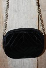 Tasje zwart fluweel met ketting en fluweel aan bovenkant